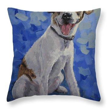 Jackaroo - A Pet Portrait Throw Pillow by Karen Ilari