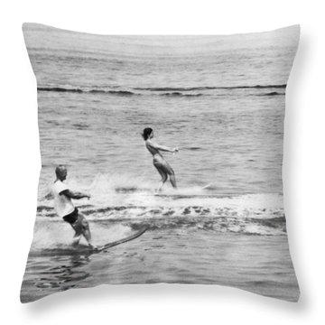 Jackie & John Glenn Water Ski Throw Pillow by Underwood Archives