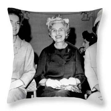 Jackie Kennedy At Luncheon Throw Pillow by Underwood Archives