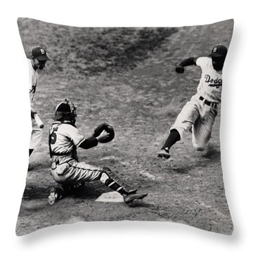 Jackie Robinson In Action Throw Pillow