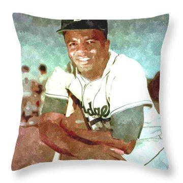 Jackie Robinson Throw Pillow by Gianfranco Weiss
