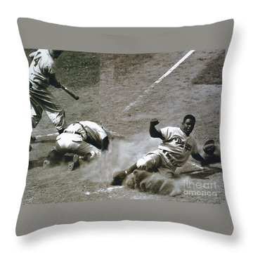 Jackie Robinson Sliding Home Throw Pillow