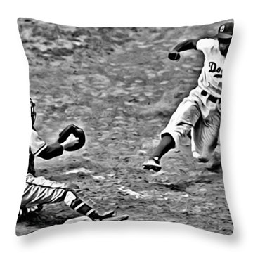 Jackie Robinson Stealing Home Throw Pillow