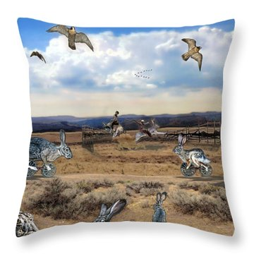 Throw Pillow featuring the digital art Jackrabbit Juxtaposition  At Owyhee View by Tarey Potter