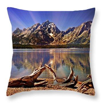 Jackson Lake Mt. Moran Throw Pillow by Marty Koch