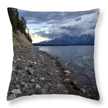 Jackson Lake Shore With Grand Tetons Throw Pillow by Belinda Greb