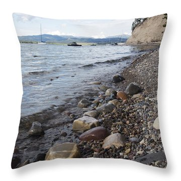 Jackson Lake With Boats Throw Pillow by Belinda Greb