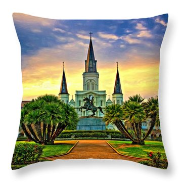 Jackson Square Evening - Paint Throw Pillow