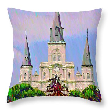 Jackson Square In The French Quarter Throw Pillow by Bill Cannon