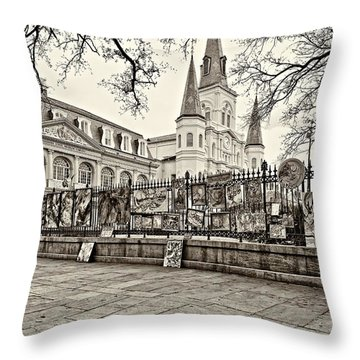 Jackson Square Winter Sepia Throw Pillow by Steve Harrington