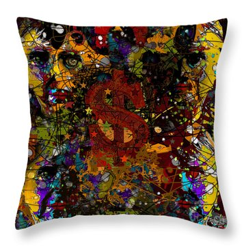 Jackson Warhol Me Throw Pillow by Carol Jacobs