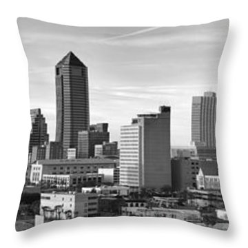 Throw Pillow featuring the photograph Jacksonville Skyline Morning Day Black And White Bw Panorama Florida by Jon Holiday