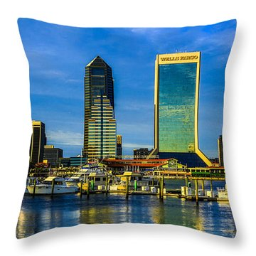 Jacksonville Skyline Sunset Throw Pillow