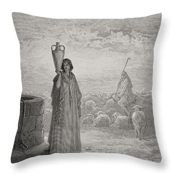 Jacob Keeping Laban's Flock Throw Pillow by Gustave Dore