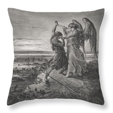 Jacob Wrestling With The Angel Throw Pillow by Gustave Dore