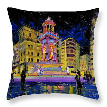 Jacobins Fountain During The Festival Of Lights In Lyon France  Throw Pillow