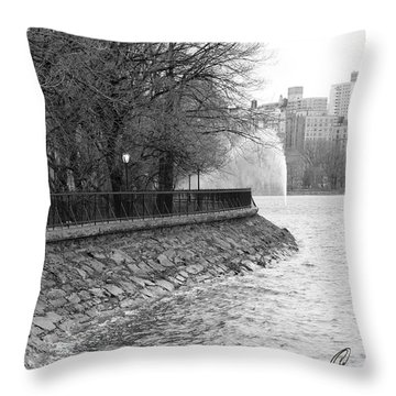 Jacqueline Kennedy Onassis Reservoir Ny Throw Pillow by Chris Thomas