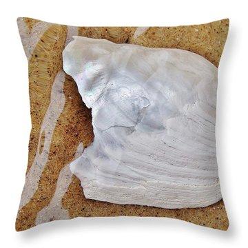 Jagged White Shell Throw Pillow by Kathi Mirto