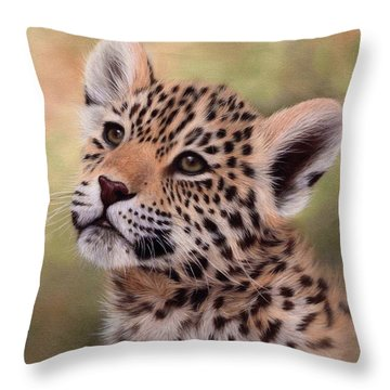 Jaguar Cub Painting Throw Pillow