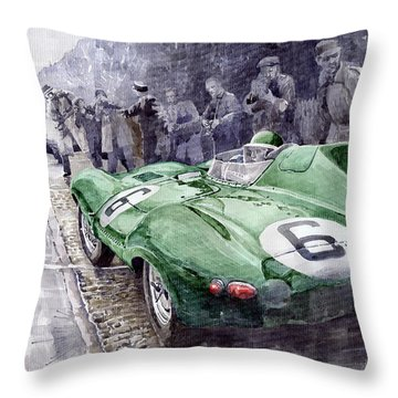 Jaguar D-type  1955 Le Mans  Throw Pillow by Yuriy Shevchuk