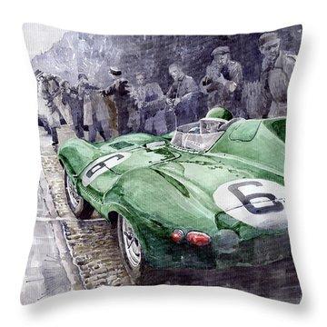 Jaguar D-type  1955 Le Mans  Throw Pillow