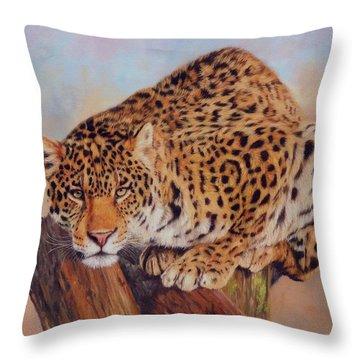 Jaguar Throw Pillow by David Stribbling
