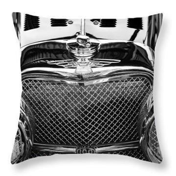 Jaguar Ss 100 Grille Emblem -0544bw Throw Pillow