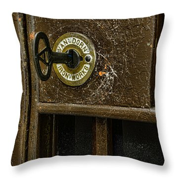 Jail Cell Door Lock  And Key Close Up Throw Pillow by Paul Ward