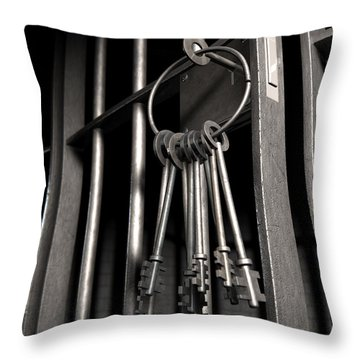 Jail Cell With Open Door And Bunch Of Keys Throw Pillow