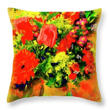 Throw Pillow featuring the painting J'aime Le Bouquet by Ted Azriel