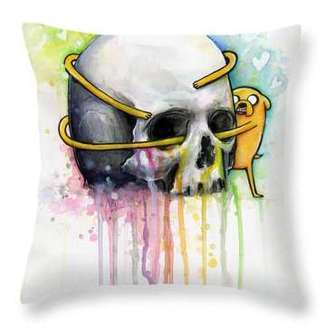 Jake The Dog Hugging Skull Adventure Time Art Throw Pillow