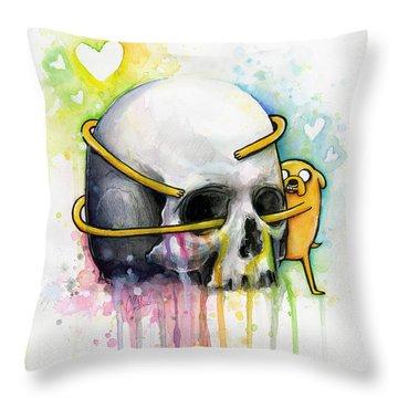 Jake The Dog Hugging Skull Adventure Time Art Throw Pillow by Olga Shvartsur