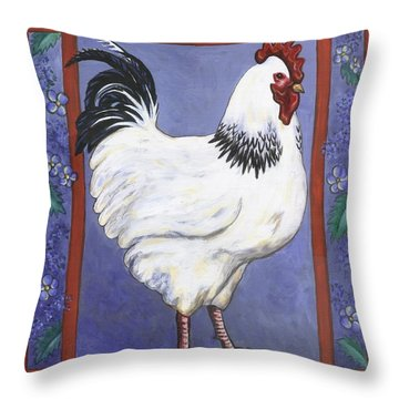 Jake The Rooster Throw Pillow by Linda Mears