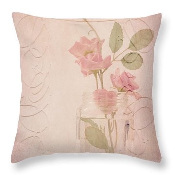 Jam Jar Roses  Throw Pillow