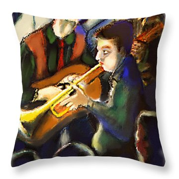Throw Pillow featuring the digital art Jam Session by Ted Azriel