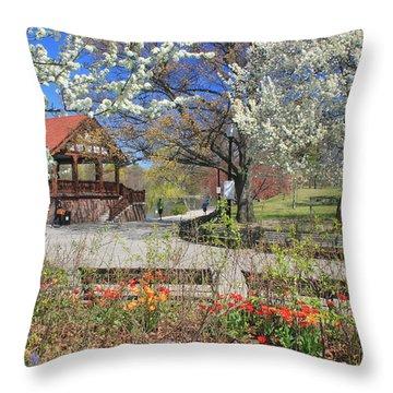 Jamaica Pond Boston In Spring Throw Pillow