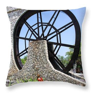 Jamaica Water Wheel Throw Pillow