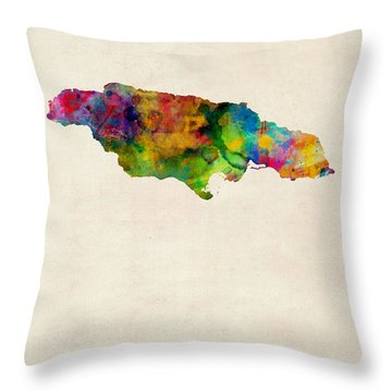 Jamaica Watercolor Map Throw Pillow