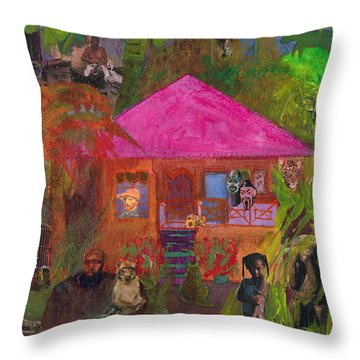 Throw Pillow featuring the mixed media Jamaican Holiday by Catherine Redmayne