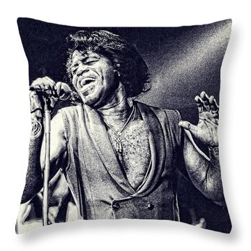 James Brown On Stage Throw Pillow