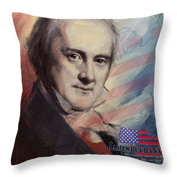 James Buchanan Throw Pillow by Corporate Art Task Force