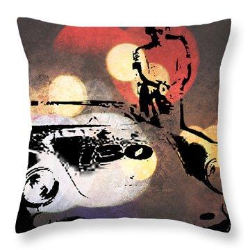 James Dean And Little Bastard Throw Pillow