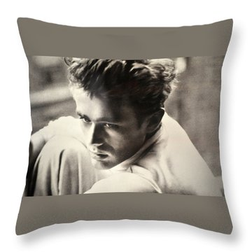 James Dean Black And White Throw Pillow