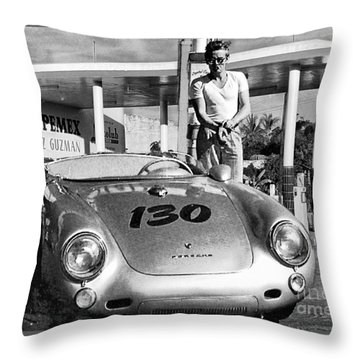 James Dean Filling His Spyder With Gas Black And White Throw Pillow