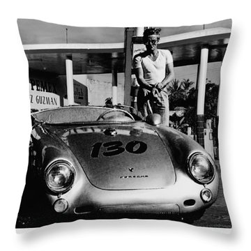 James Dean Filling His Spyder With Gas In Black And White Throw Pillow