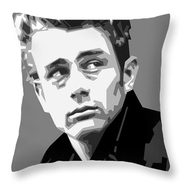 James Dean In Black And White Throw Pillow