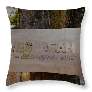 James Dean James Dean Throw Pillow by Janice Rae Pariza