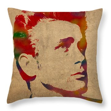 James Dean Watercolor Portrait On Worn Distressed Canvas Throw Pillow by Design Turnpike
