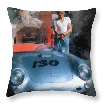 James Dean With His Spyder Throw Pillow by Paulette B Wright