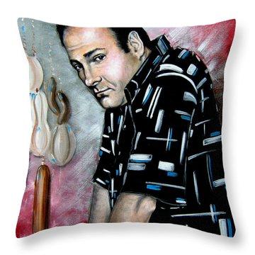 Throw Pillow featuring the painting James Gandolfini As Tony Soprano by Patrice Torrillo